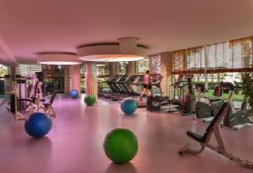 Bahçe manzaralı geniş fitness salonu...